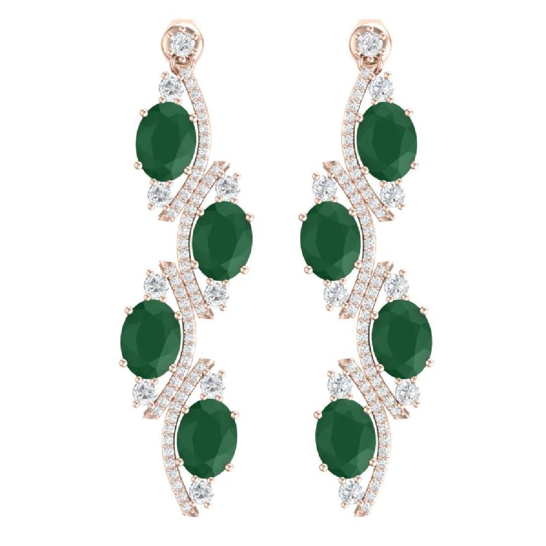 16.12 CTW Royalty Emerald & VS Diamond Earrings 18K