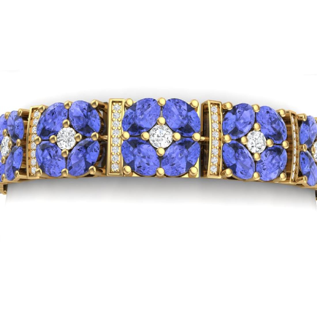 30.98 CTW Royalty Tanzanite & VS Diamond Bracelet 18K