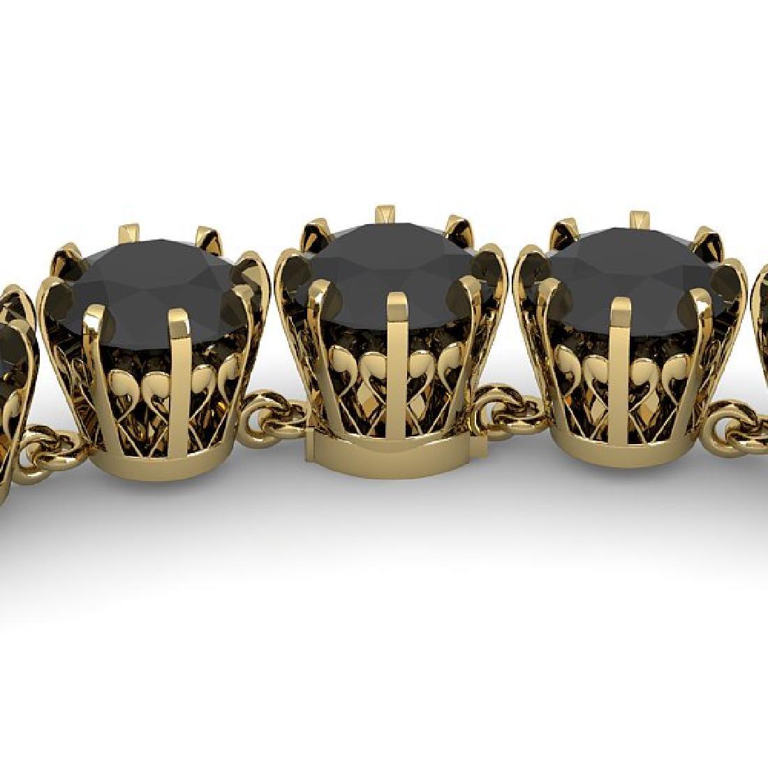 54 CTW Certified Black VS Diamond Necklace 14K Yellow