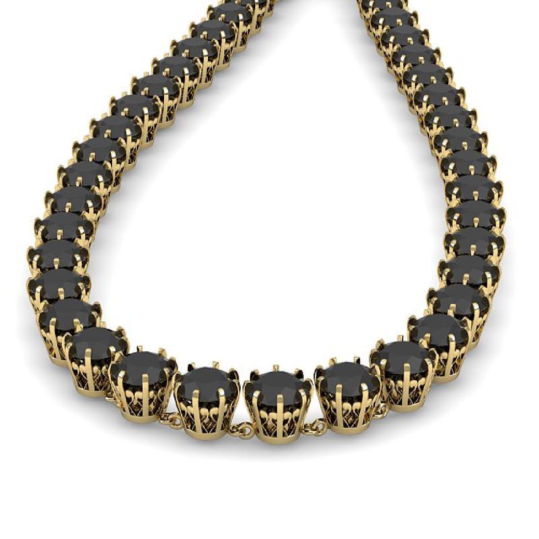 54 CTW Certified Black VS Diamond Necklace 14K Yellow - 2