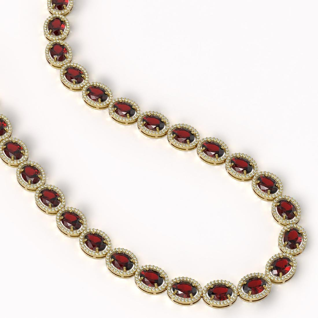 62.99 CTW Garnet & Diamond Halo Necklace 10K Yellow