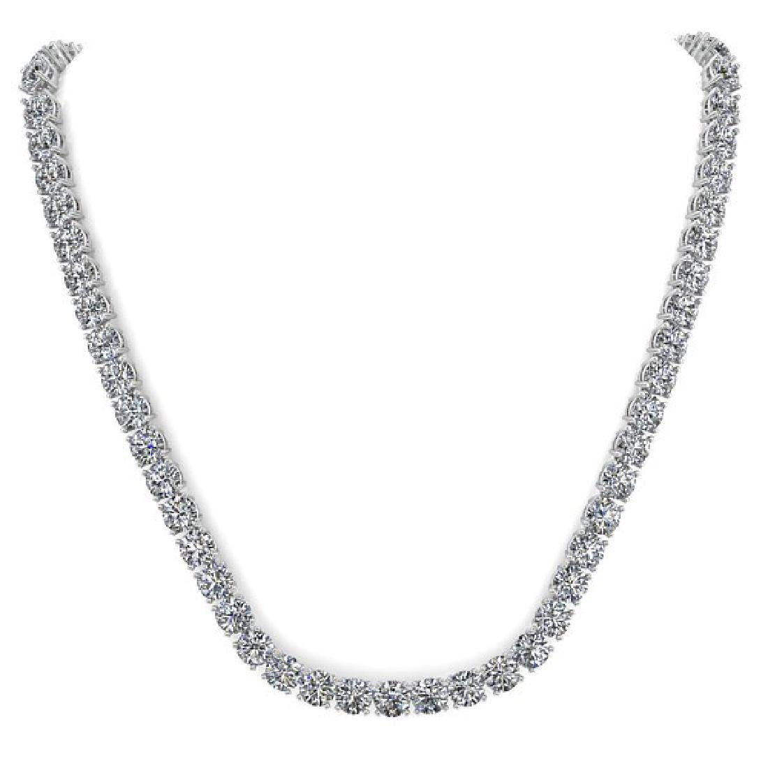30 CTW Certified SI Diamond Necklace 18K White Gold - 3