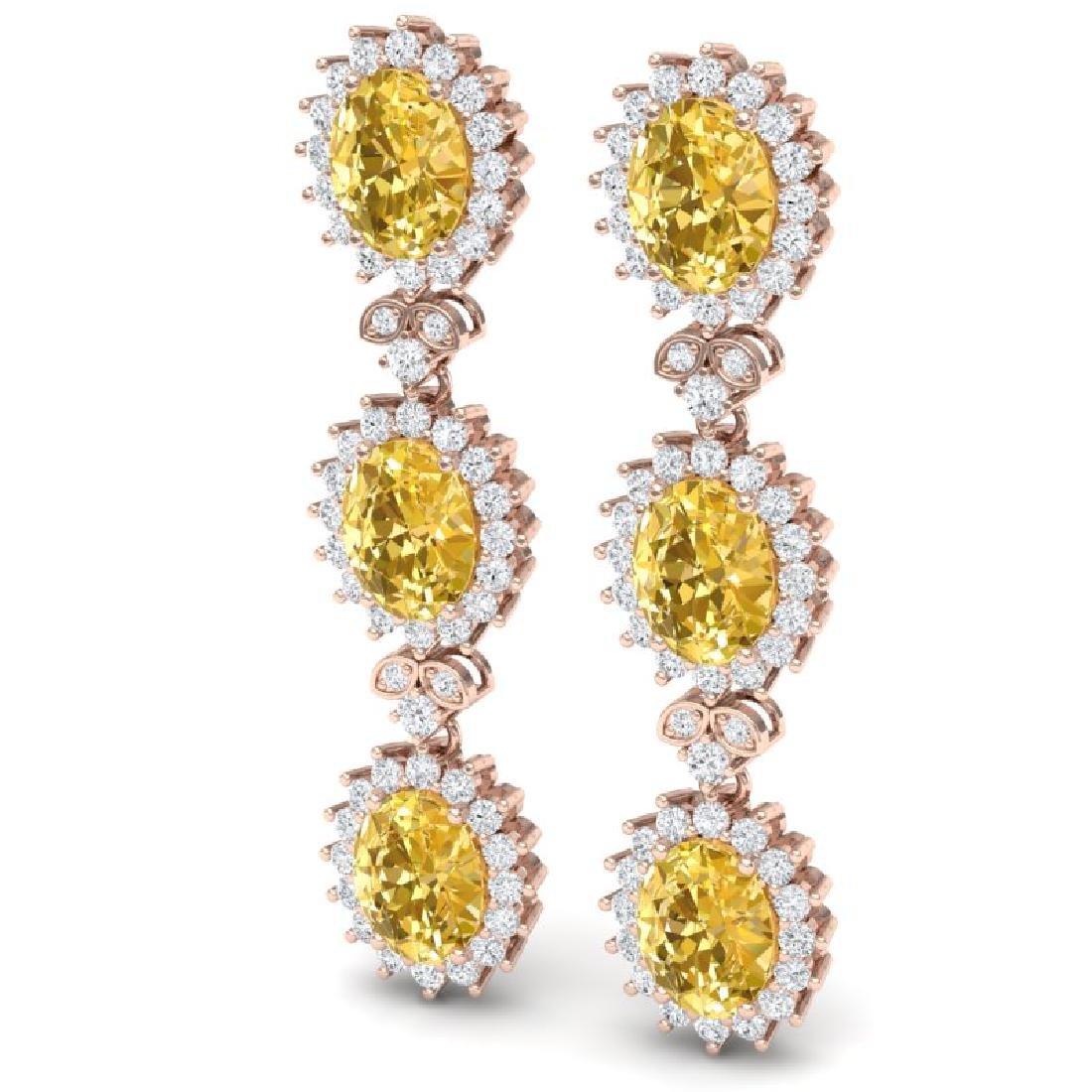 19.06 CTW Royalty Canary Citrine & VS Diamond Earrings - 2