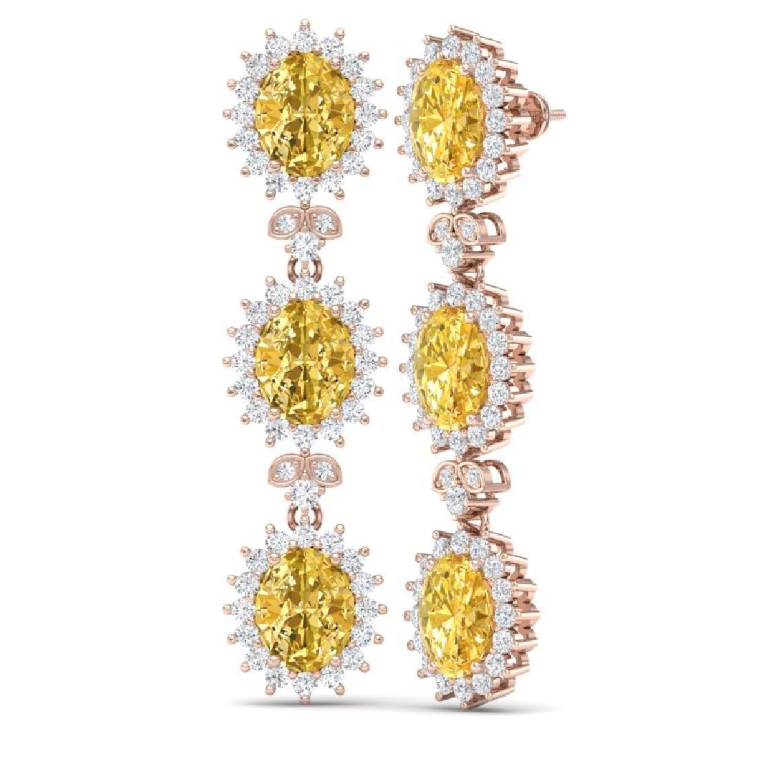 19.06 CTW Royalty Canary Citrine & VS Diamond Earrings - 3
