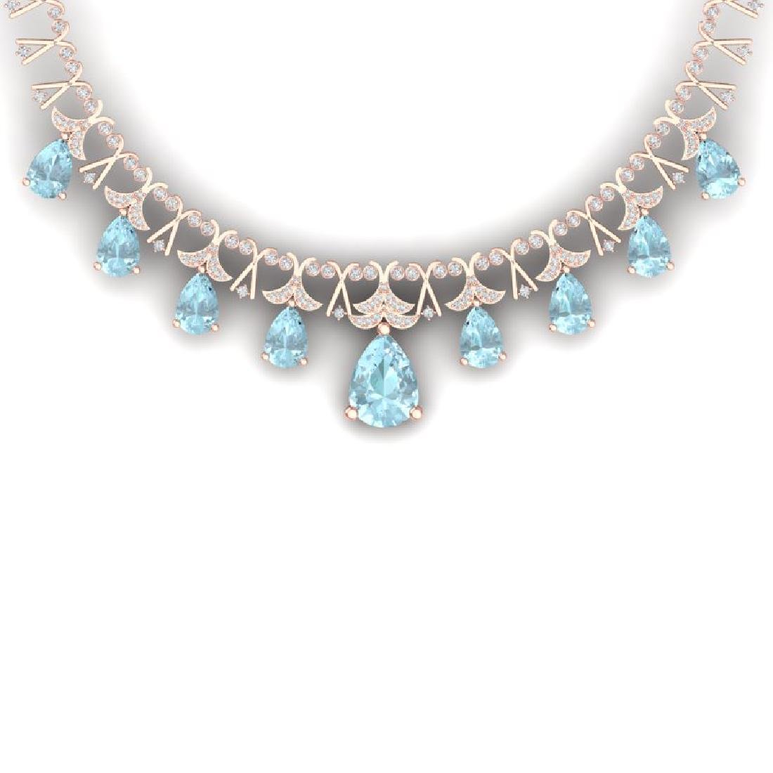 60.62 CTW Royalty Sky Topaz & VS Diamond Necklace 18K