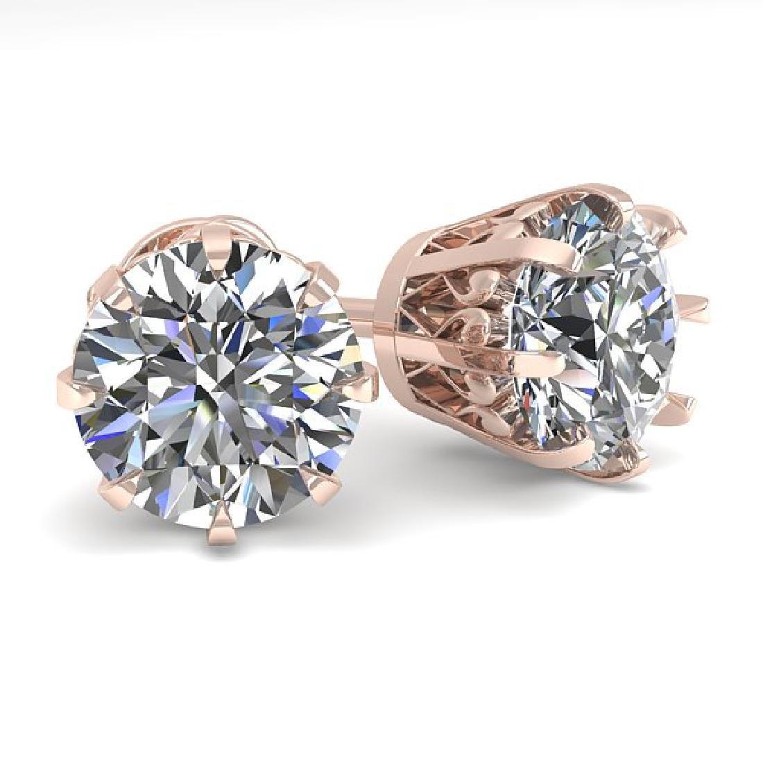 3.09 CTW VS/SI Diamond Stud Solitaire Earrings 18K Rose