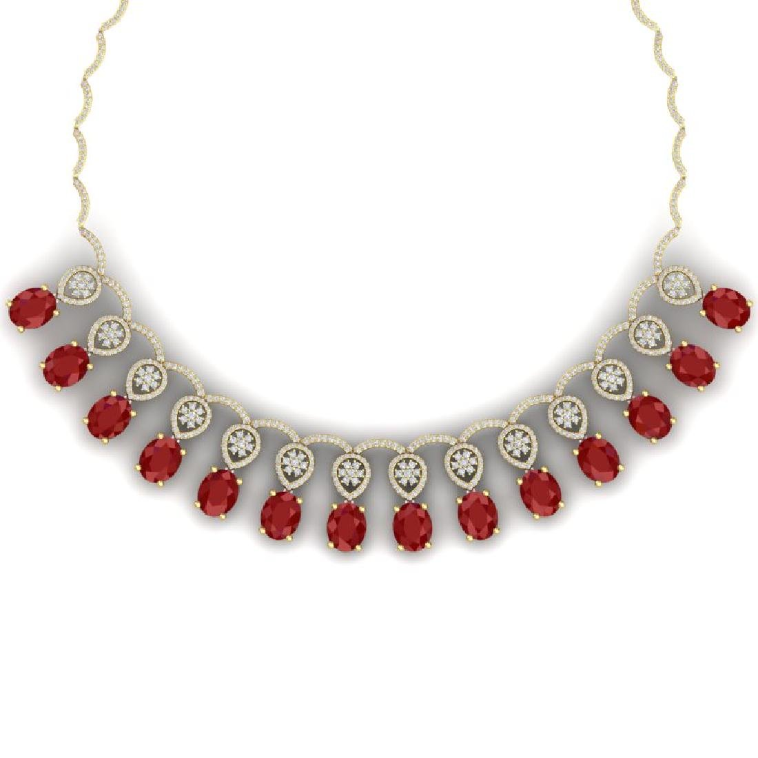 54.05 CTW Royalty Ruby & VS Diamond Necklace 18K Yellow