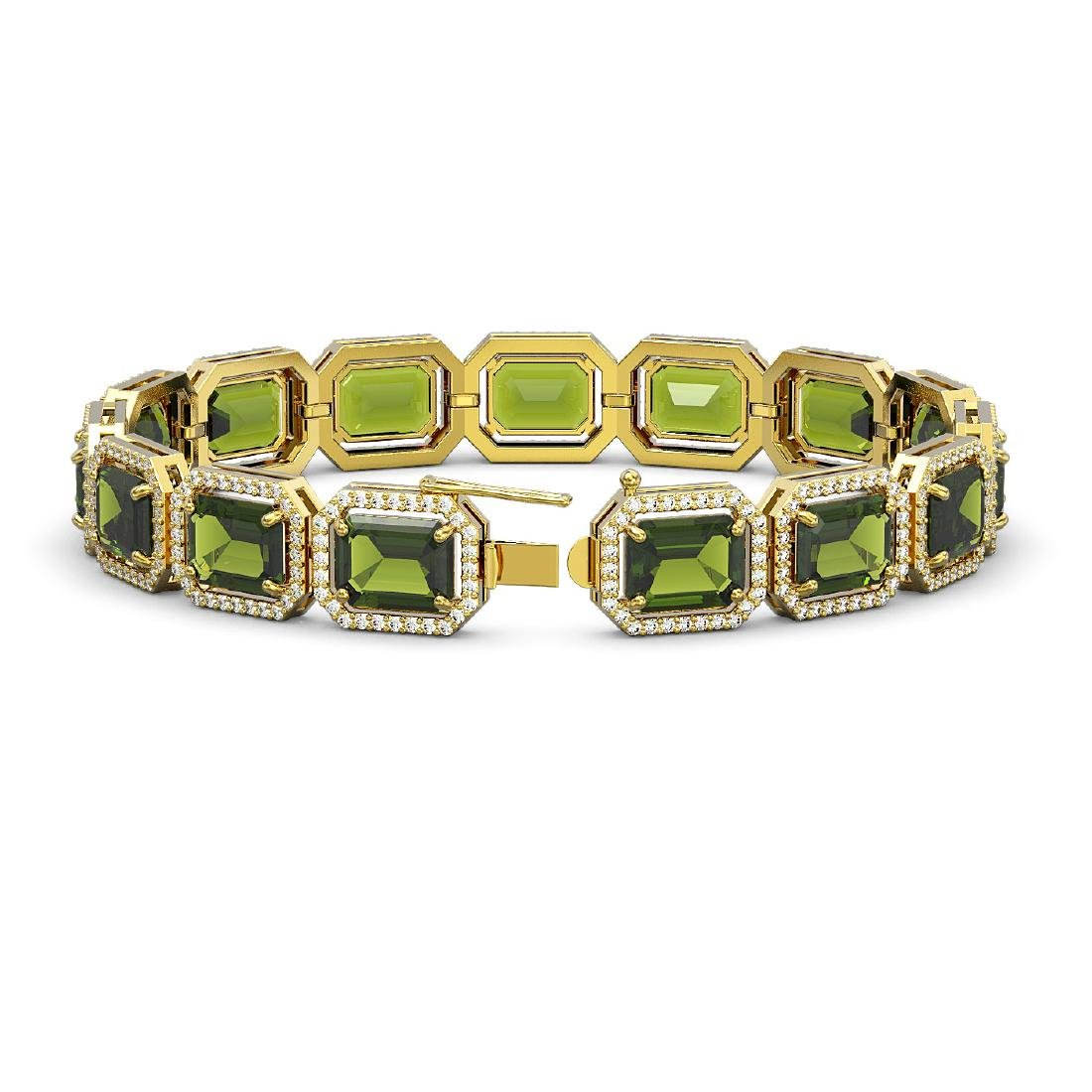 36.51 CTW Tourmaline & Diamond Halo Bracelet 10K Yellow - 2