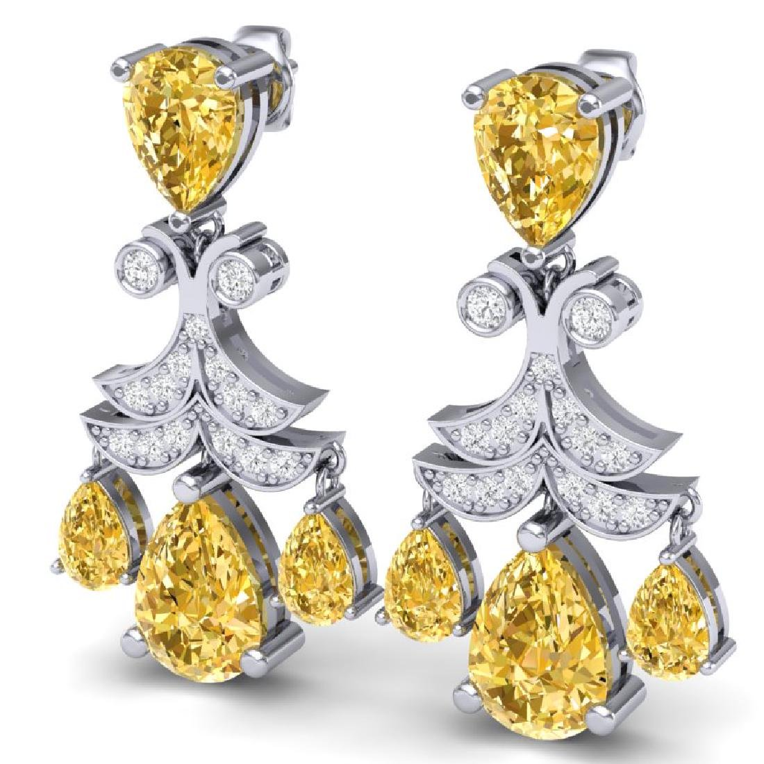 10.41 CTW Royalty Canary Citrine & VS Diamond Earrings - 2