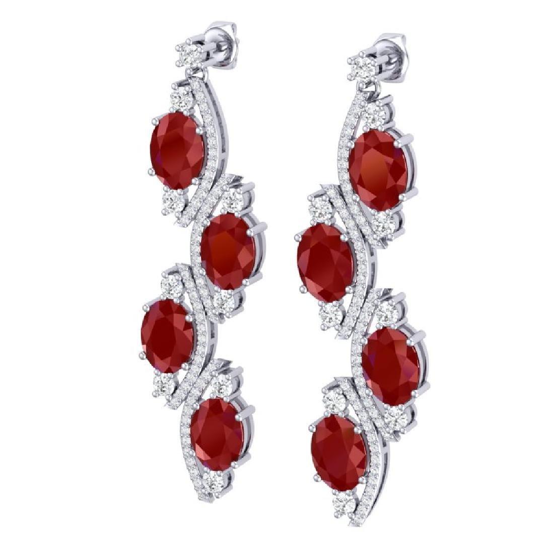 16.12 CTW Royalty Designer Ruby & VS Diamond Earrings