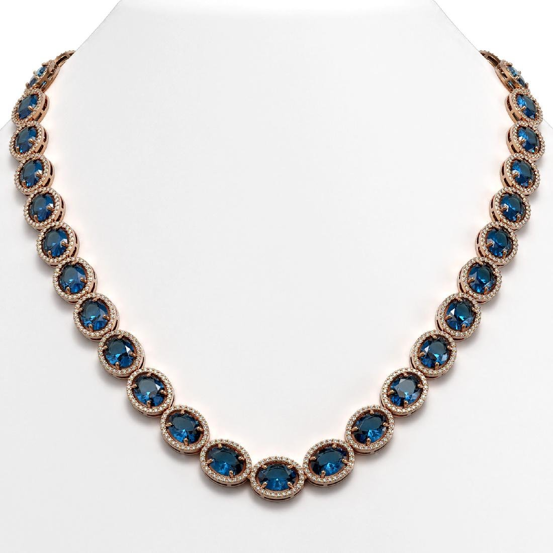 68.17 CTW London Topaz & Diamond Halo Necklace 10K Rose
