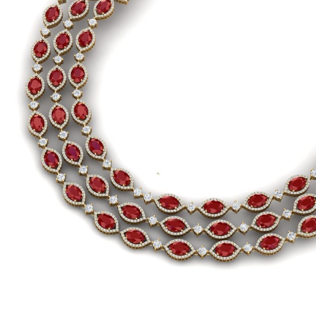 85.81 CTW Royalty Ruby & VS Diamond Necklace 18K Yellow