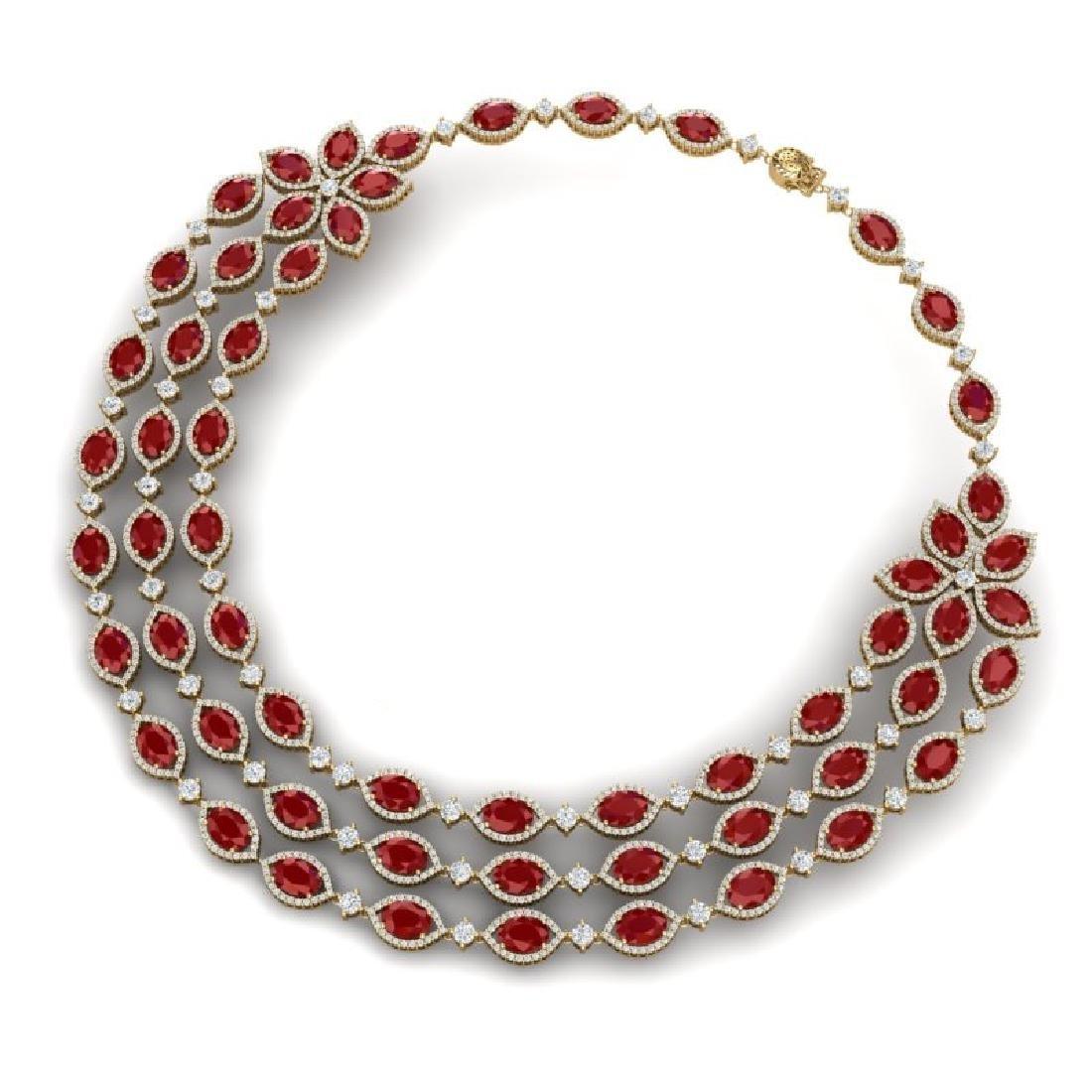 85.81 CTW Royalty Ruby & VS Diamond Necklace 18K Yellow - 2