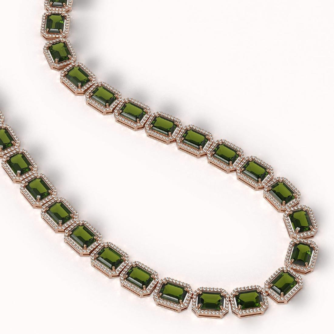 80.65 CTW Tourmaline & Diamond Halo Necklace 10K Rose - 2