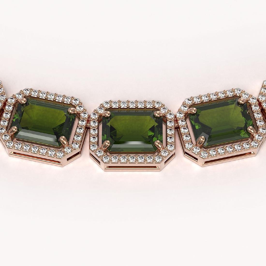 80.65 CTW Tourmaline & Diamond Halo Necklace 10K Rose - 3