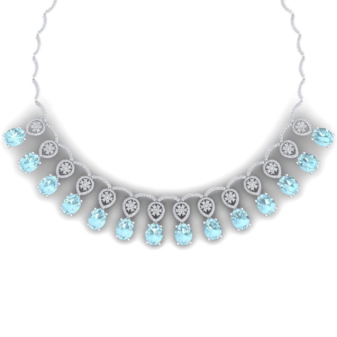 55.35 CTW Royalty Sky Topaz & VS Diamond Necklace 18K