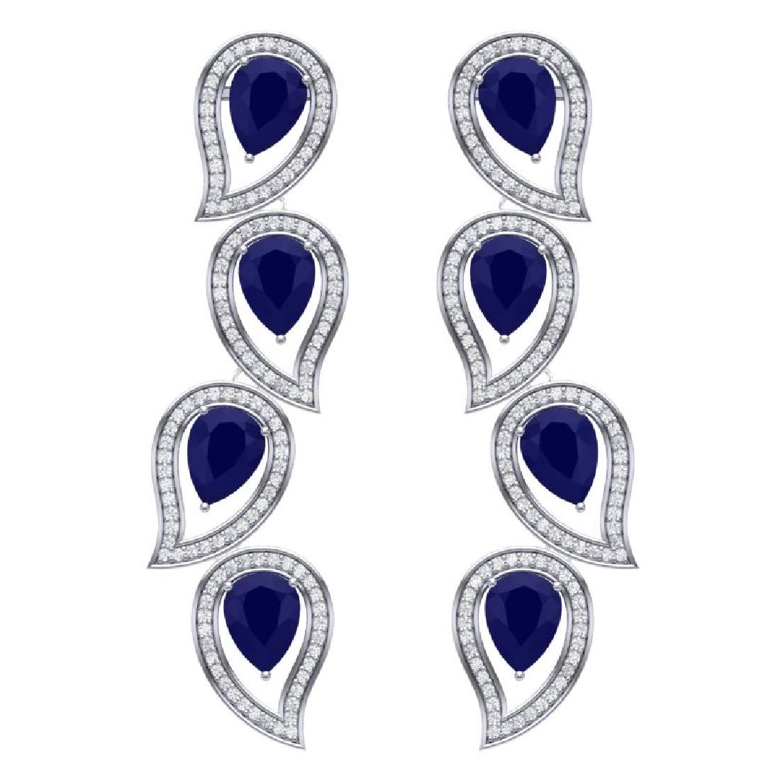 16.44 CTW Royalty Sapphire & VS Diamond Earrings 18K