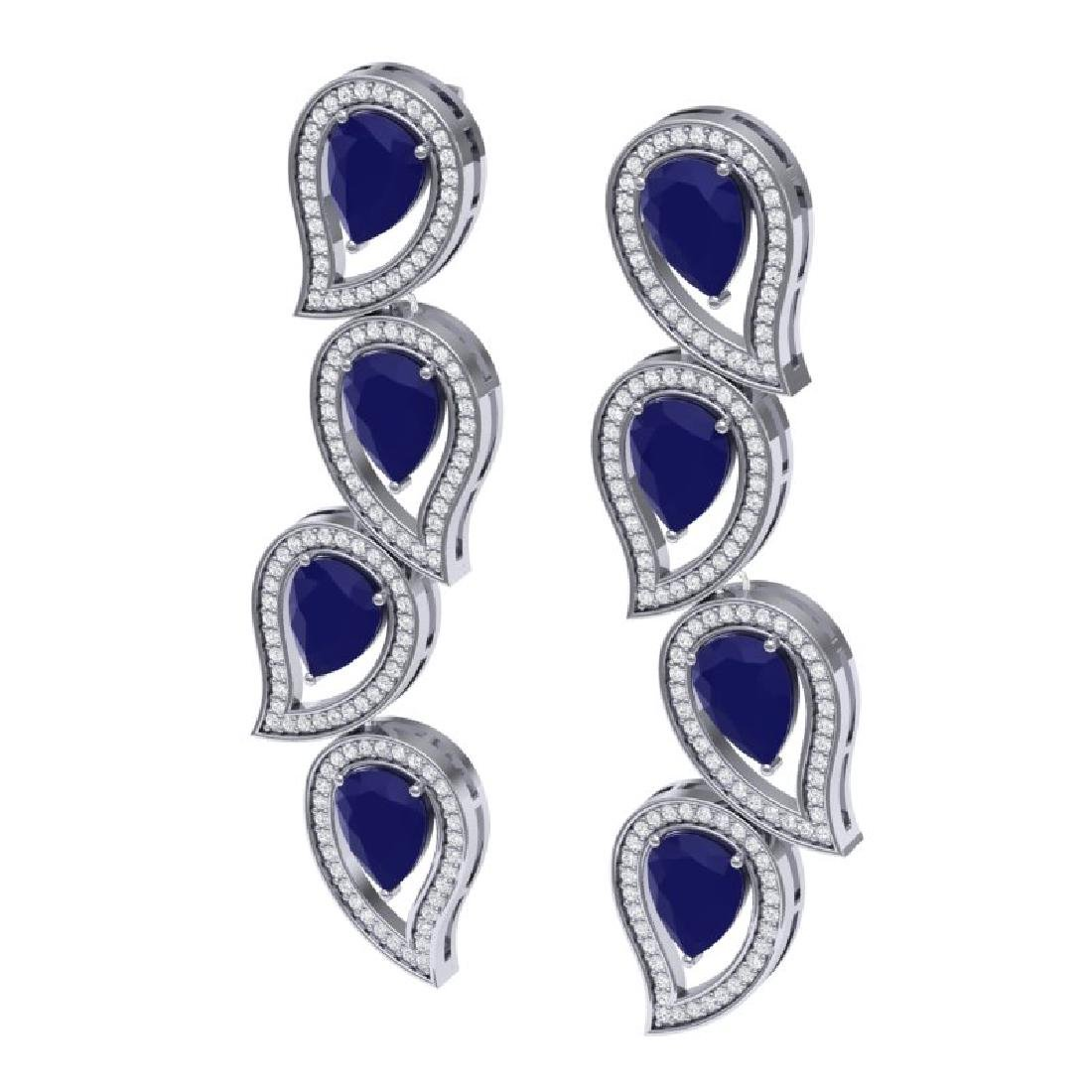 16.44 CTW Royalty Sapphire & VS Diamond Earrings 18K - 2