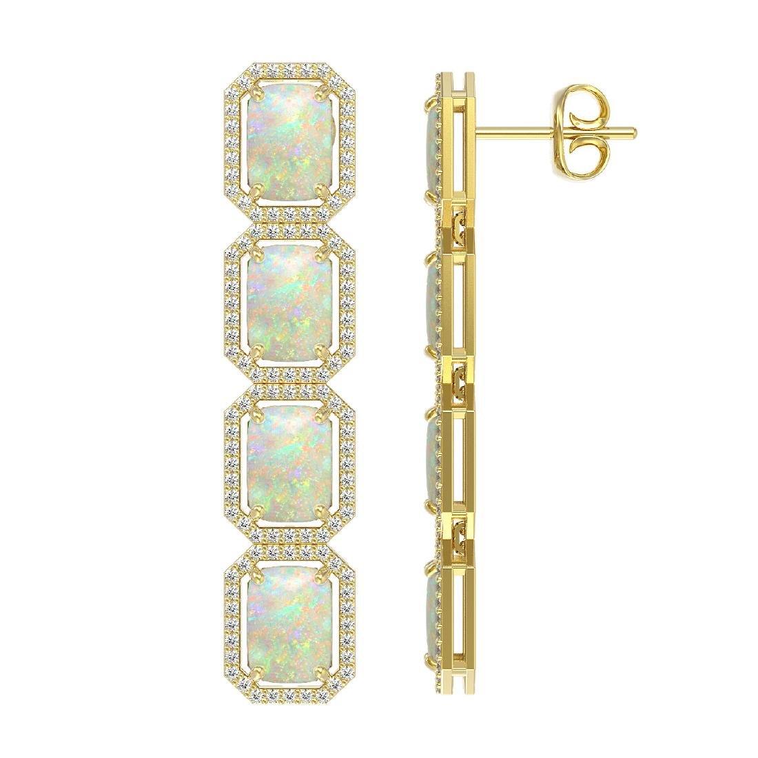 12.99 CTW Opal & Diamond Halo Earrings 10K Yellow Gold - 2