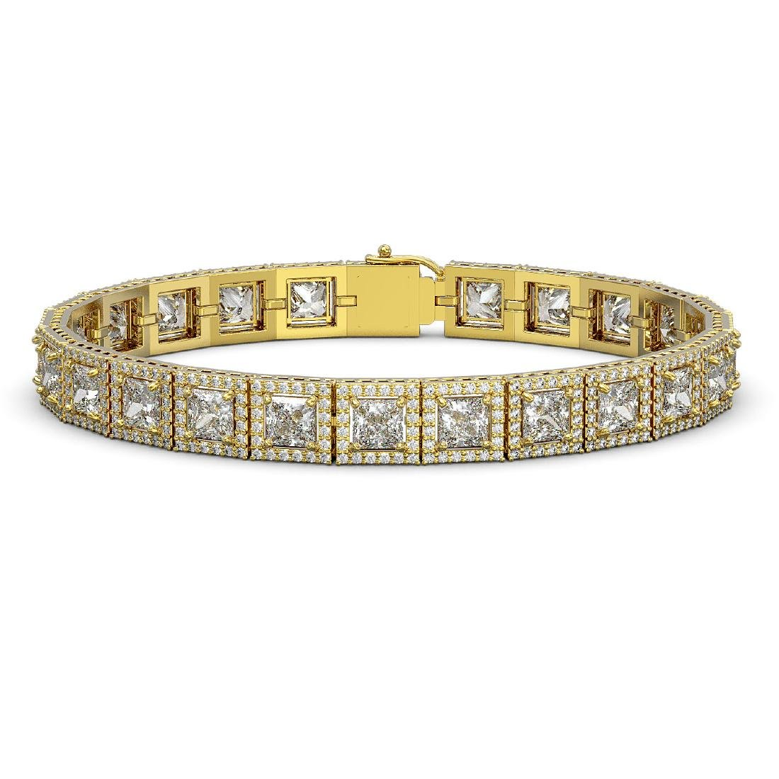 18.24 CTW Princess Diamond Designer Bracelet 18K Yellow