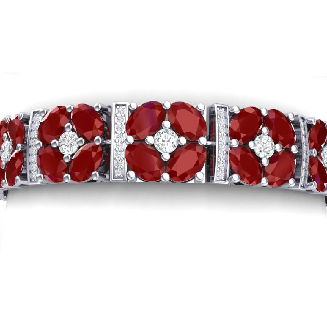 48.04 CTW Royalty Ruby & VS Diamond Bracelet 18K White