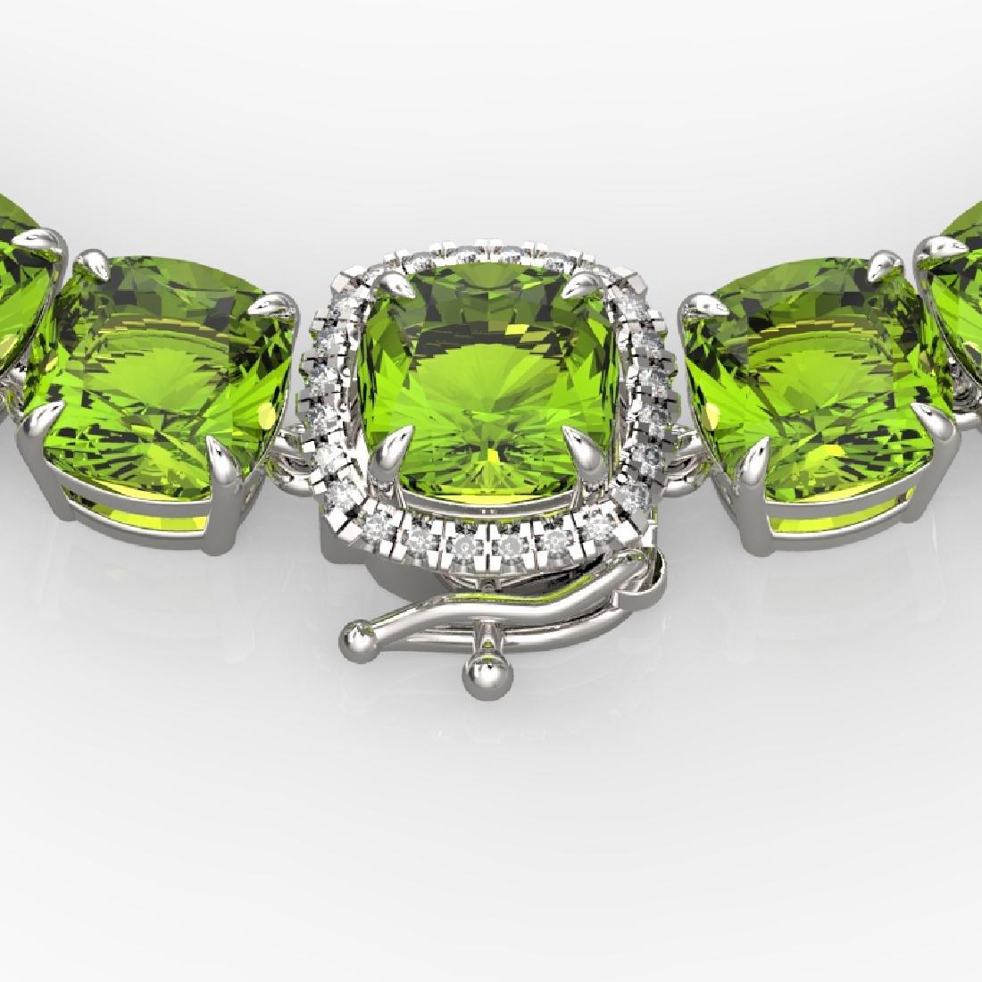100 CTW Peridot & VS/SI Diamond Pave Necklace 14K White