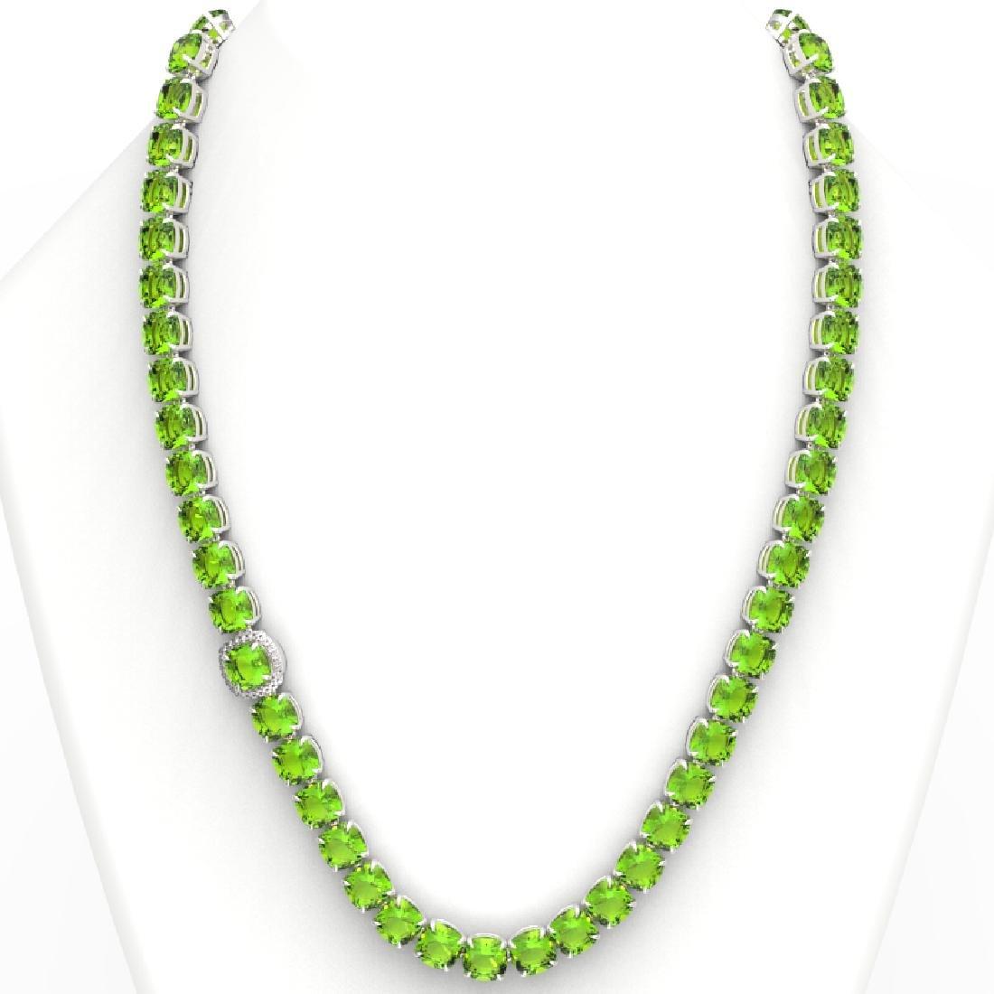100 CTW Peridot & VS/SI Diamond Pave Necklace 14K White - 3