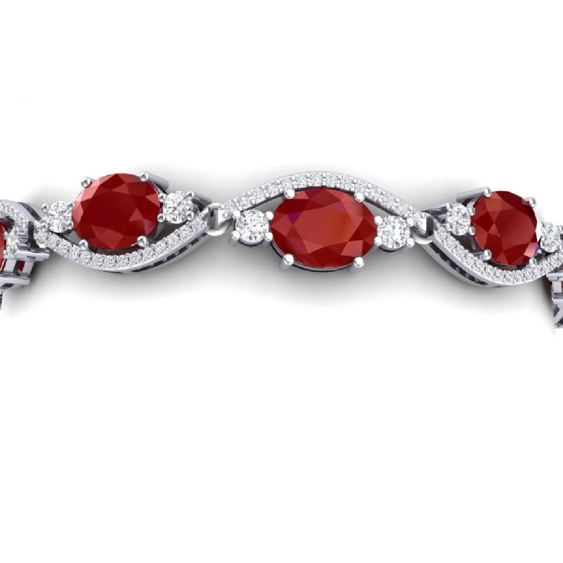 22.15 CTW Royalty Ruby & VS Diamond Bracelet 18K White