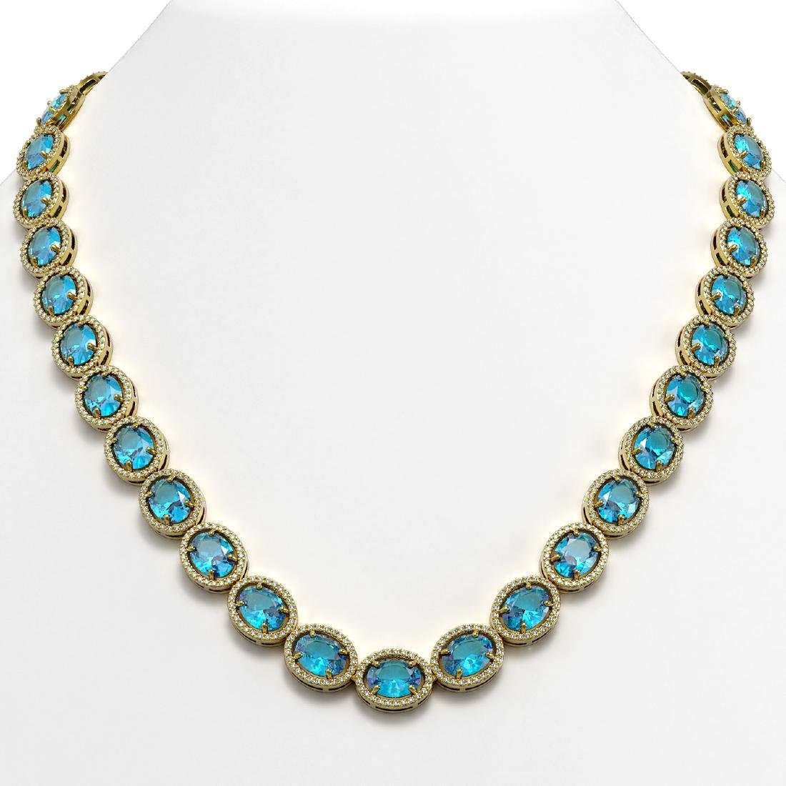 68.17 CTW Swiss Topaz & Diamond Halo Necklace 10K