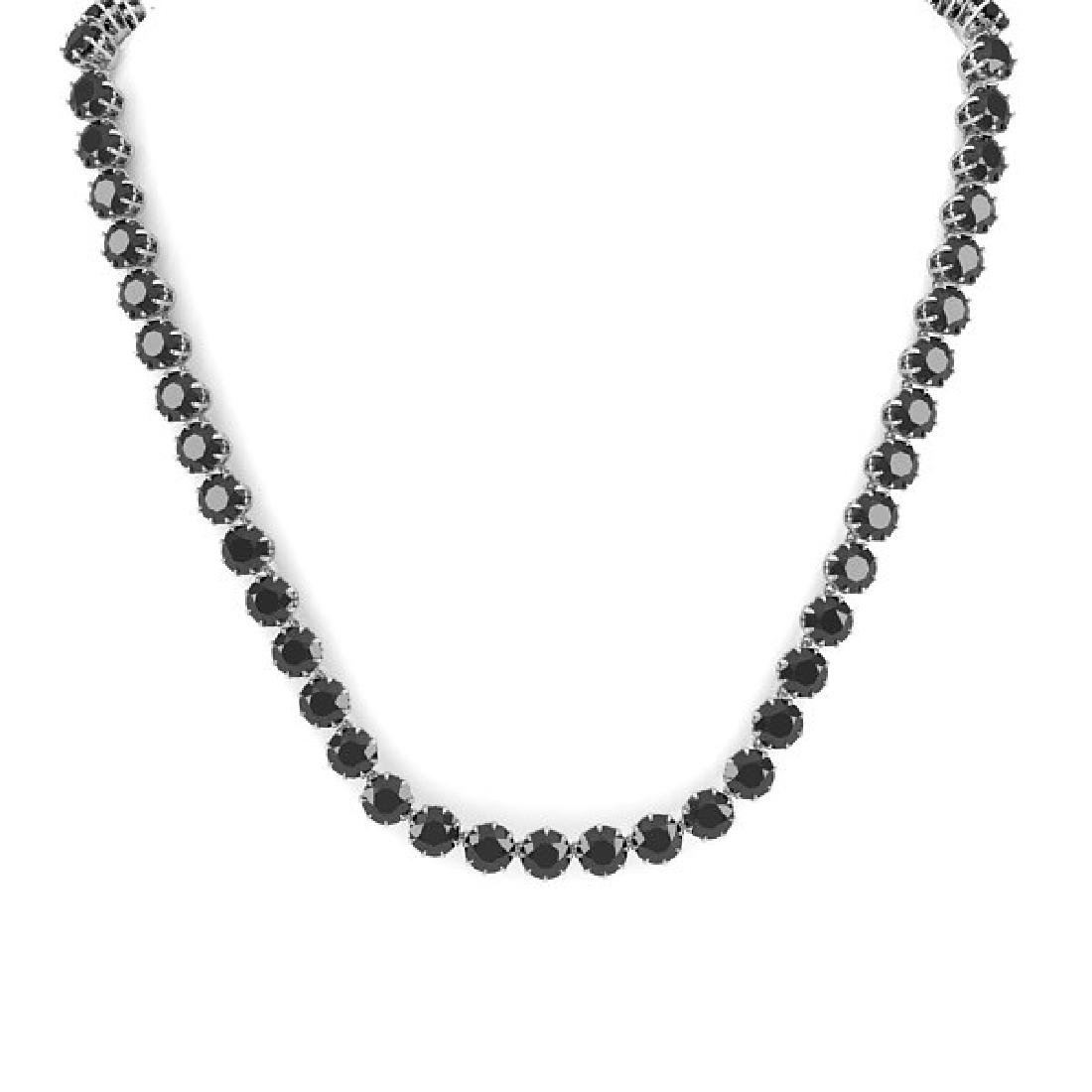 54 CTW Certified Black VS Diamond Necklace 18K White - 2