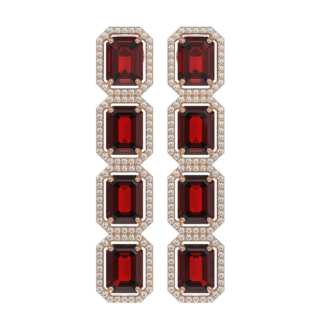 17.8 CTW Garnet & Diamond Halo Earrings 10K Rose Gold