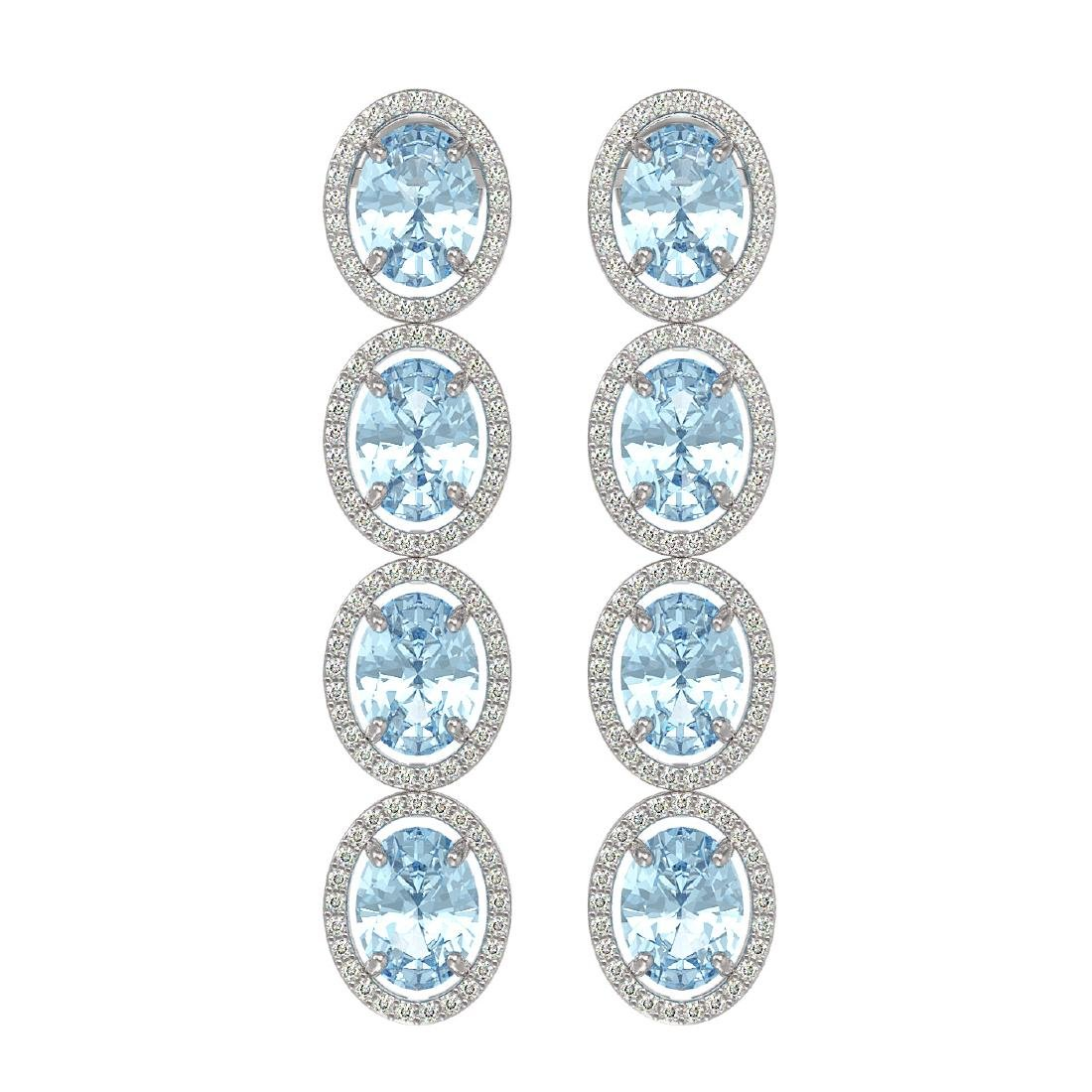 11.72 CTW Aquamarine & Diamond Halo Earrings 10K White