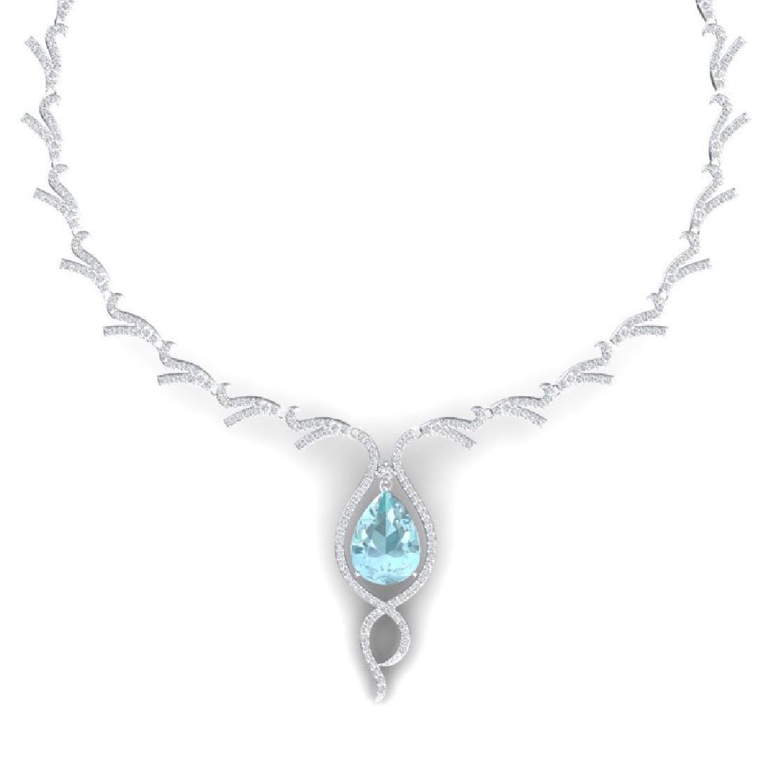 24.32 CTW Royalty Sky Topaz & VS Diamond Necklace 18K