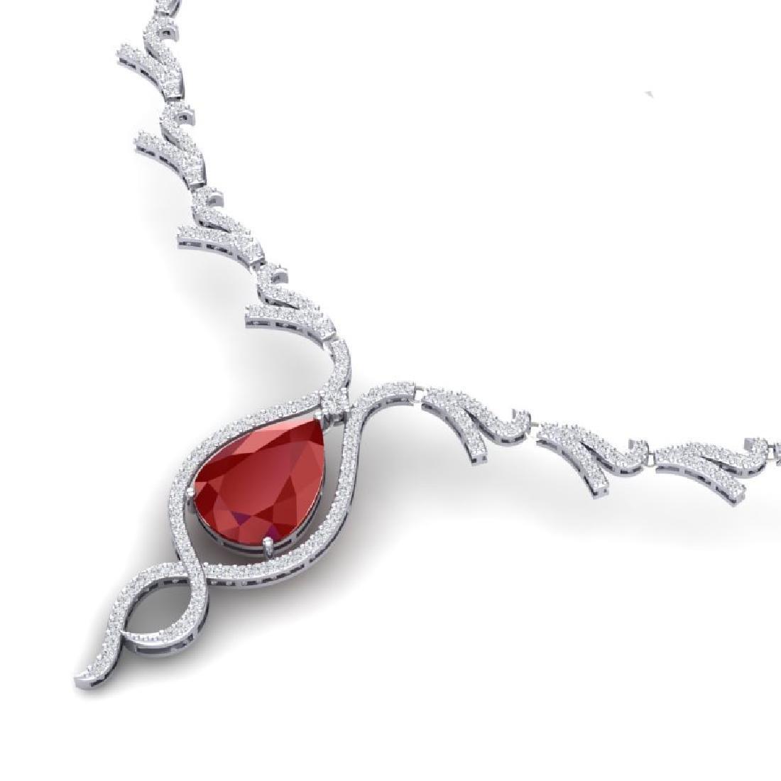 23.43 CTW Royalty Ruby & VS Diamond Necklace 18K White