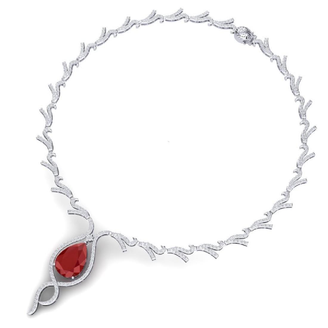 23.43 CTW Royalty Ruby & VS Diamond Necklace 18K White - 2