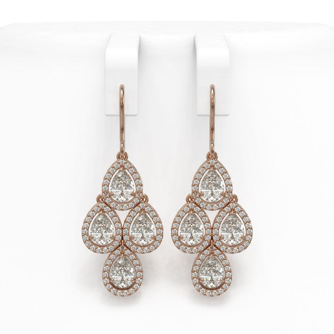 5.85 CTW Pear Diamond Designer Earrings 18K Rose Gold