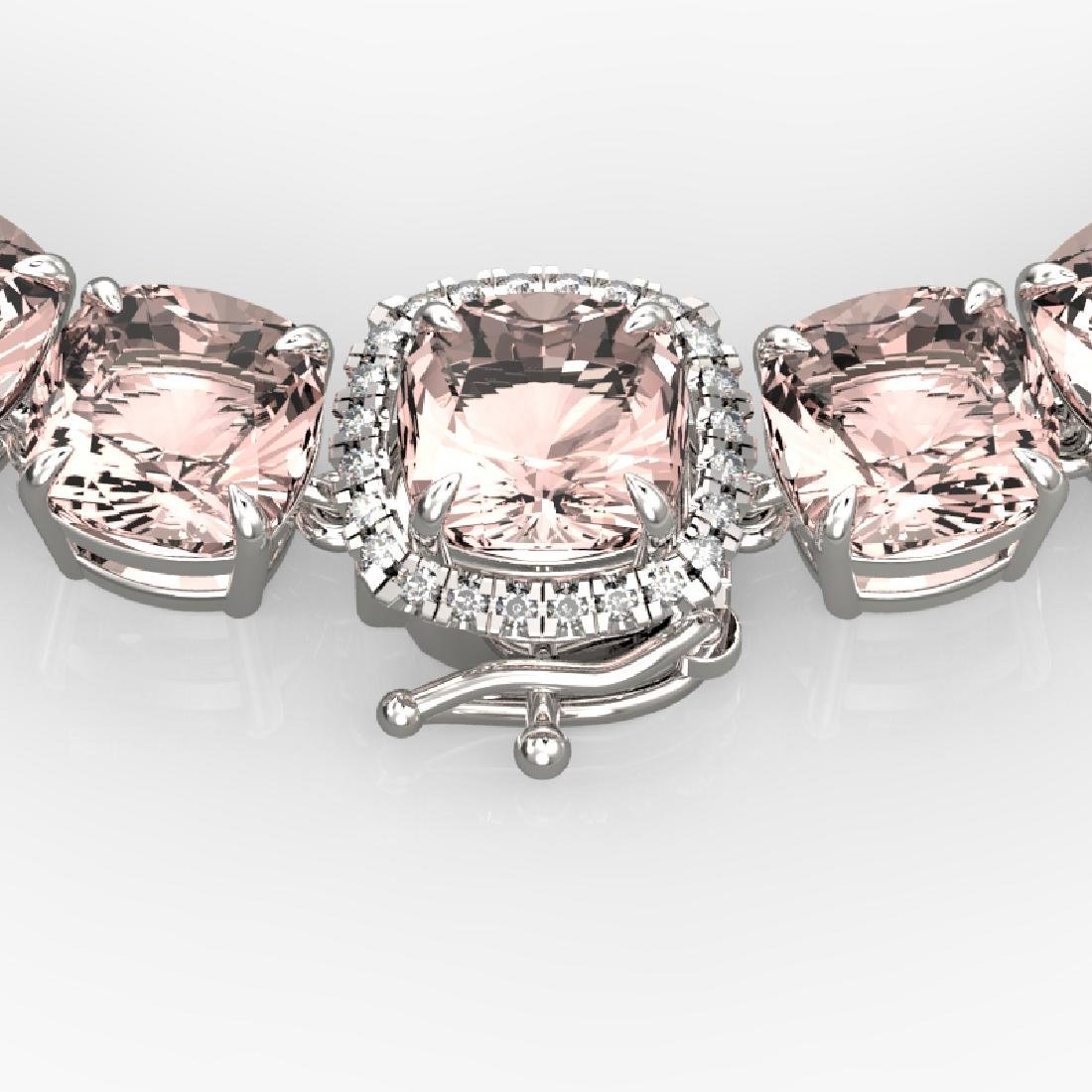 87 CTW Morganite & VS/SI Diamond Necklace 14K White