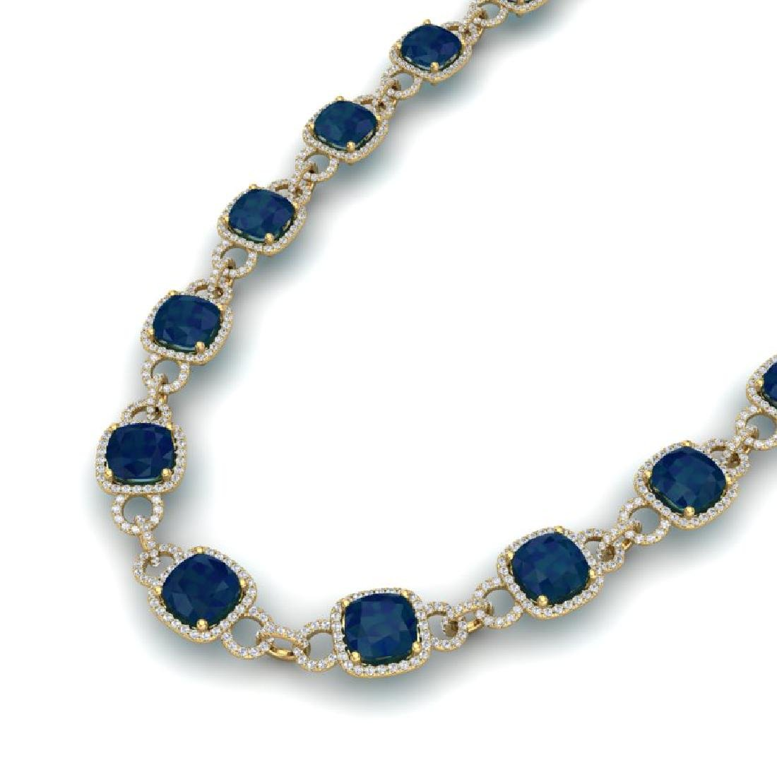 56 CTW Sapphire & VS/SI Diamond Necklace 14K Yellow