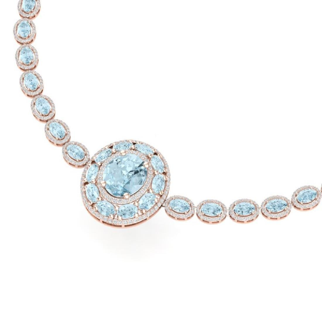45.12 CTW Royalty Sky Topaz & VS Diamond Necklace 18K