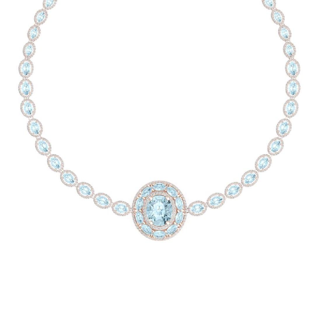 45.12 CTW Royalty Sky Topaz & VS Diamond Necklace 18K - 2