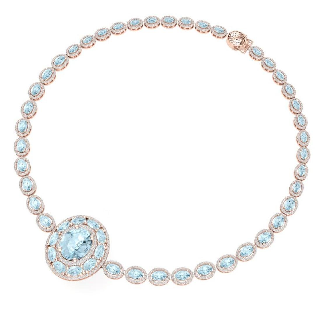 45.12 CTW Royalty Sky Topaz & VS Diamond Necklace 18K - 3