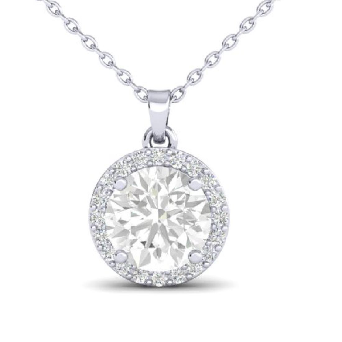 1.75 CTW VS/SI Diamond Pave Necklace 18K White Gold