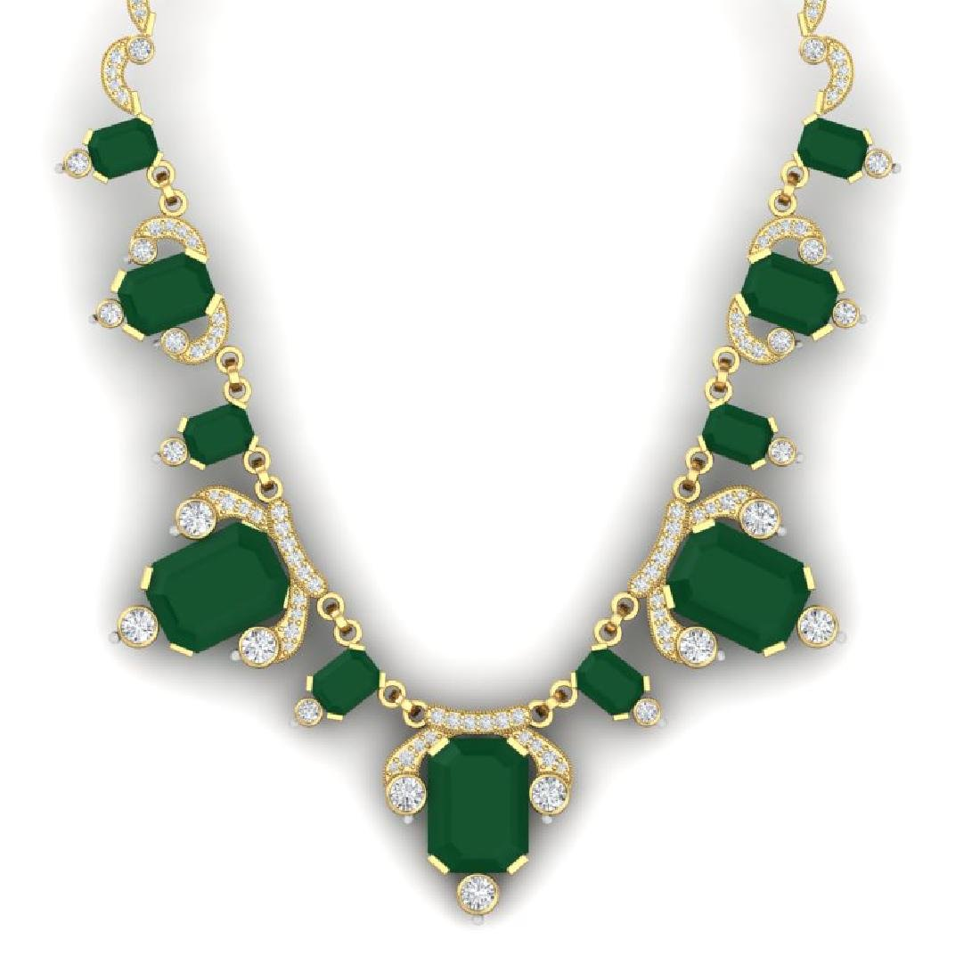 75.21 CTW Royalty Emerald & VS Diamond Necklace 18K