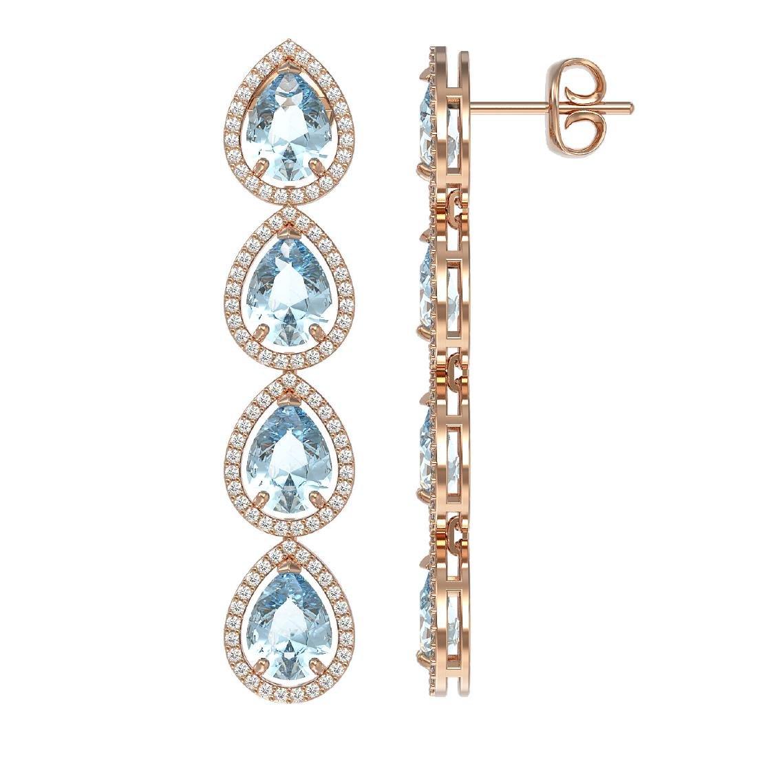 10.56 CTW Aquamarine & Diamond Halo Earrings 10K Rose - 2