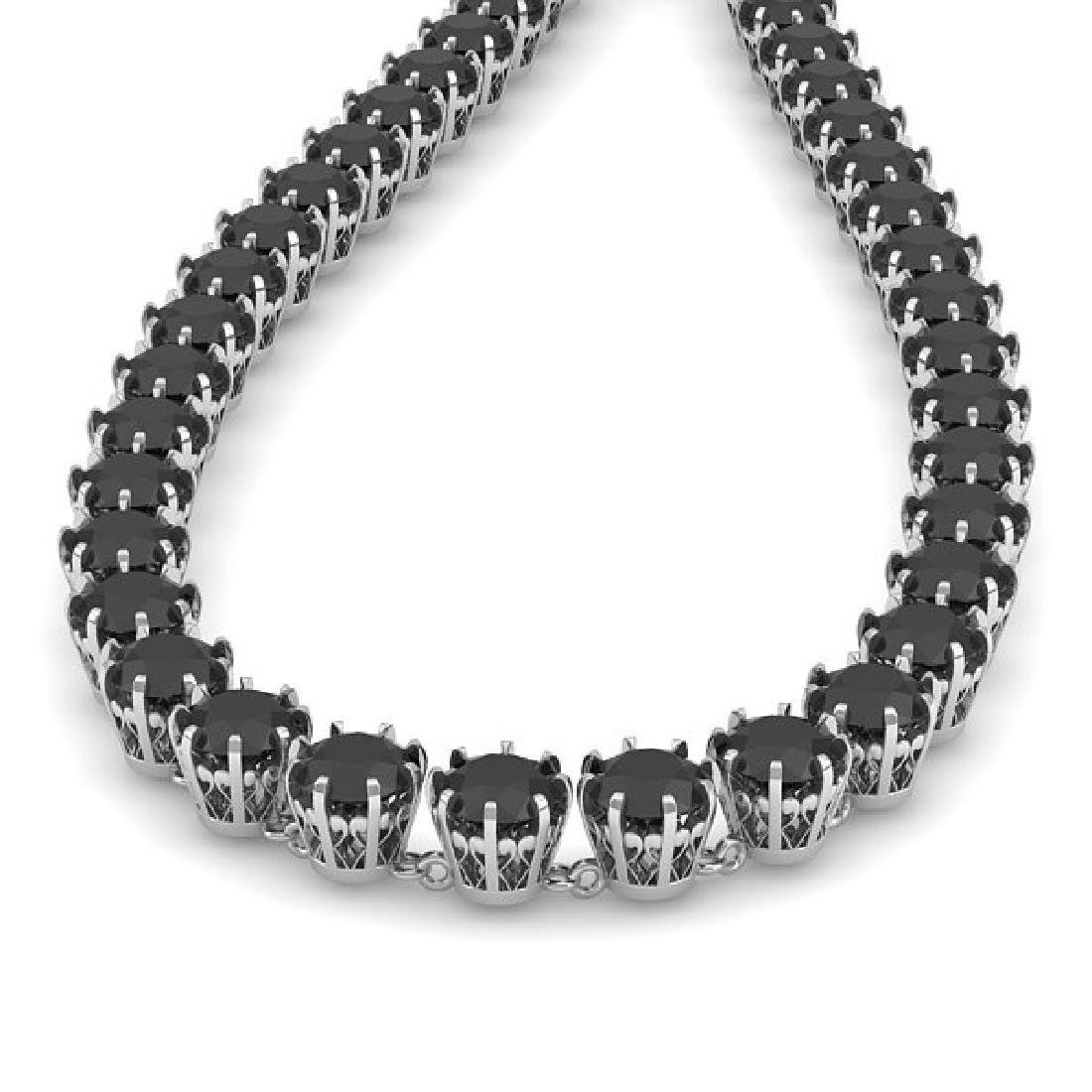 34 CTW Certified Black VS Diamond Necklace 18K White - 2