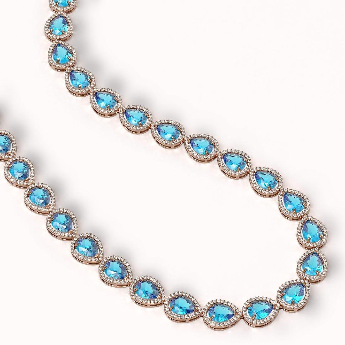 43.2 CTW Swiss Topaz & Diamond Halo Necklace 10K Rose - 2