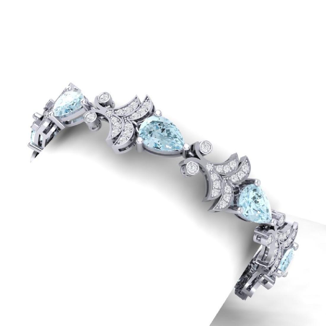 26.1 CTW Royalty Sky Topaz & VS Diamond Bracelet 18K - 2