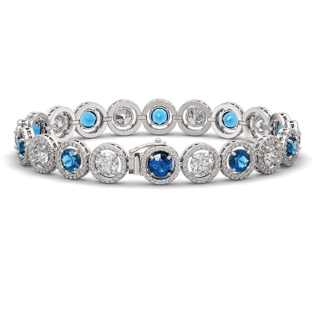 15.35 CTW Blue & White Diamond Designer Bracelet 18K - 2