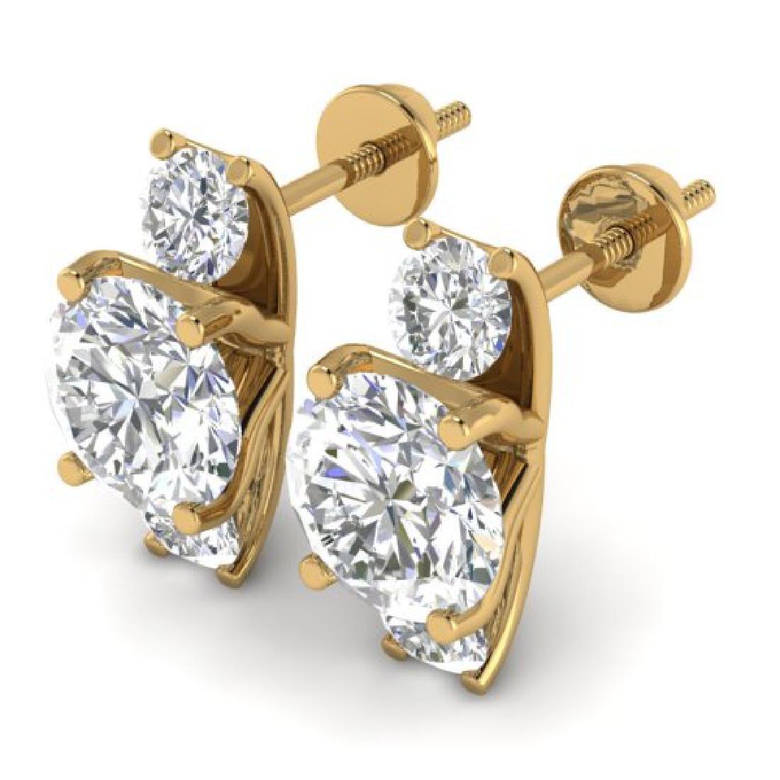 2.9 CTW Certified VS/SI Diamond 3 Stone Stud Earrings - 2