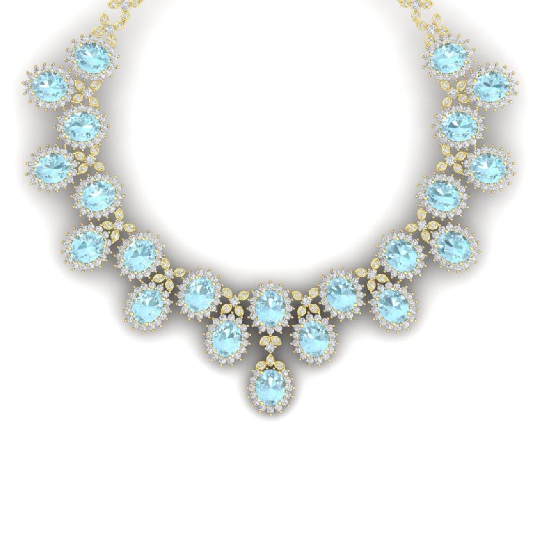 83 CTW Royalty Sky Topaz & VS Diamond Necklace 18K